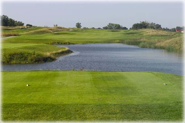 View of a water hazard on the course at Shepherd's Crook