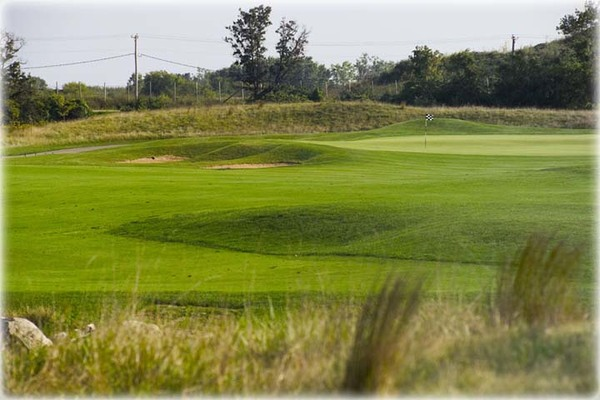View of the greens of a hole on the course at Shepherd's Crook